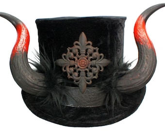 El Diablo Tall Black Top Hat Demon Horns Gothic Devil Lucifer Steampunk Krampus