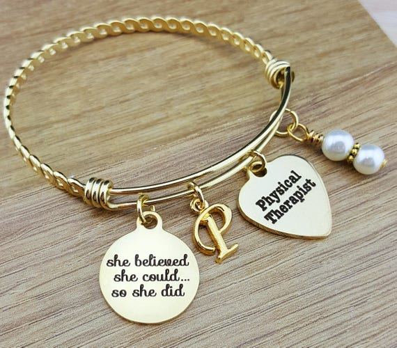 Gold Physical Therapist Gifts Physical Therapy Gifts College Graduation Gift Graduation Gift Senior Gifts Senior 2018 She Believed She Could