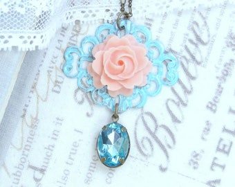 Peach Rose Necklace Peach And Blue Necklace Filigree Necklace Victorian Necklace Peach Rose Jewelry