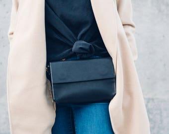 large hip bag + satchel in black // leather fanny pack // leather satchel // leather bag // magnetic closure