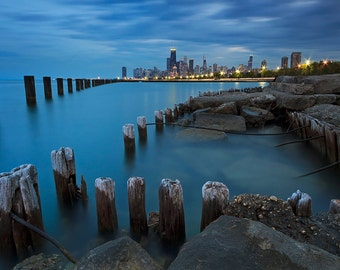 Chicago Skyline Photo, City Photography, Lake Michigan Picture, Pier Pilings, Large Wall Art, Oversized Art Print, City Night Blue Teal