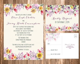 Watercolor Floral Wedding Invitations; Bohemian Lavender & Sunflowers; Printable OR set of 25