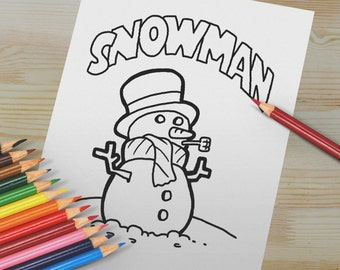 Snowman Coloring Page. Winter Craft Project Digital Download