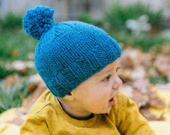 Blue Baby Beanie with Pom Pom - Knitted Baby Hat - Pom Pom Baby Hat - Blue Baby Hat for Boy or Girl