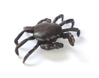 Tiny bronze crab sculpture, miniature metal crustacean, hot cast bronze seaside collectible, bonsai ornament, home decor, wedding favour
