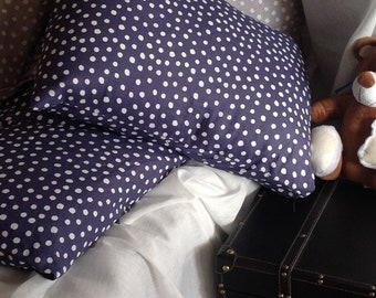 Set of two Stone washed blue polka dots linen pillow cases
