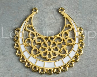White enamel 24k gold plated flower pendant connector crescent moon large gold Filigree boho tribal casting hypoallergenic Zamak 1 pc