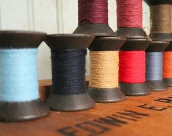 SALE Today Single Primitive Spool Black Wooden Spools 2 Inch Wood Bobbins with brightly colored thread - Rustic Valentine DIY Home Studio De