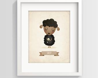 Sheep art print, farm nursery decor, nursery illustration, animal art, baby room decor, children's art, new baby gift, baby girl, baby room