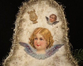 Reproduction Pennsylvania Cotton Christmas Ornament of a Bell with Angel