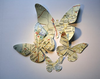 Vintage map butterflies. 20 uts. Die cuts from 4 to 12 cm. Paper crafting-mixed media- wedding decor-collage-ephemera-junk journal-scrapbook