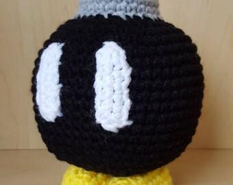 """READY TO SHIP - Mario Inspired Handmade """"Bob-omb"""" Plush"""