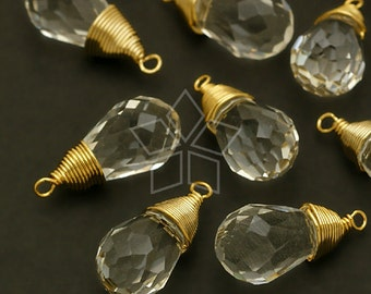 GS-105-GD / 2 Pcs - Crystal Wire Wrapped Briolette Drop (Crystal), Gold Plated Brass Wire / 7.5mm x 17mm