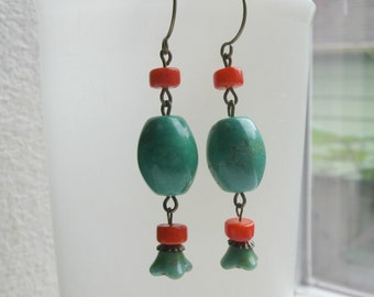 Turquoise, Coral earrings, long dangles, Southwest jewelry, turquoise beads, blue, red, green