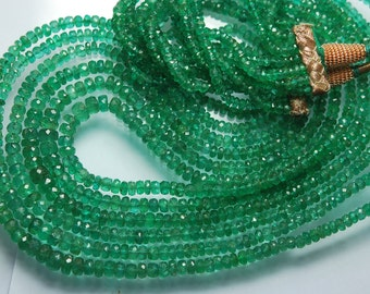 18 Inches Long Strands, Super Finest, AAA Quality, Natural African Emerald Faceted Rondelles