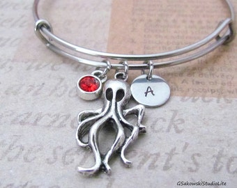 Octopus Bangle Bracelet Personalized Hand Stamped Initial Birthstone Octopus  Charm Stainless Steel Expandable Bangle Bracelet
