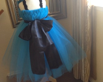 Turquoise flowergirl dress