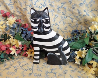 Folk Art Cat Vintage Wooden Cat Figurine Black and White
