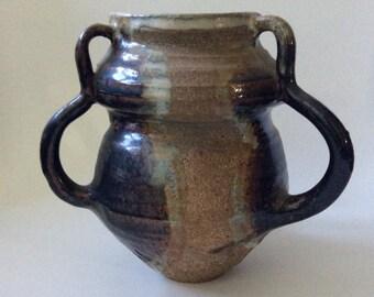 MidCentury Three-Handled Glazed Stoneware Art Pottery Vase