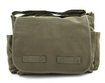 Solid Messenger Bag Crossbody Large Canvas Bag, Laptop Messenger Bag, Men's Messenger Bag, Women's Messenger Bag 100% Army Canvas Bag