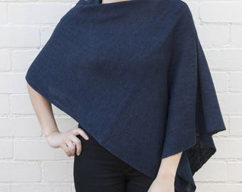 Navy Wool Poncho in Lightweight merino wool