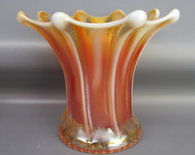Dugan Carnival Glass - WIDE RIB Peach Opalescent Squatty Vase