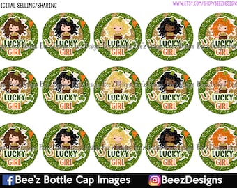 Lucky Girls- INSTANT DOWNLOAD- 1 Inch Bottle Cap Images