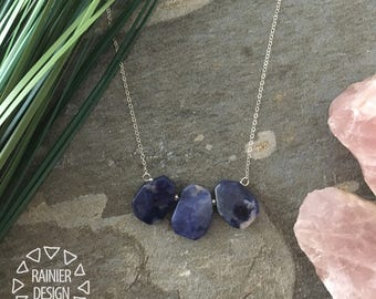 Blue Sodalite Mini Bib Necklace ↠ Handmade Simple Minimalist Wire-Wrap Natural Stone Jewelry, Royal/Denim/Navy, White, Black. Rainier Design