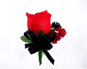 Red Black Rose Boutonniere Prom Fathers Corsage Groomsmen Buttonhole