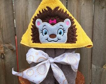 Girl Hedgehog Hooded Towel