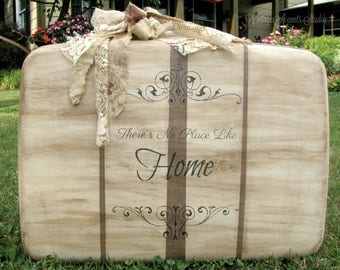 Vintage Suitcase | Wedding Decor Display | Handpainted | Card Holder | Shabby French Cottage | Paris Apartment | There's No Place Like Home
