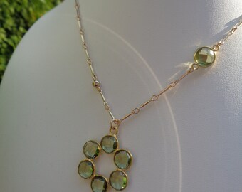 Necklace in gold with green amethyst, 585 gold filled