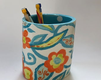 Whimsical pottery Vase - Pencil Cup colorful home decor, turquoise & orange hand-painted floral