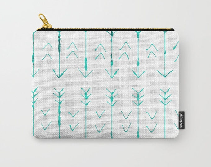 Teal Arrows - Hand Drawn -  Make-up Bag- Pouch-Carry All Pouch- Toiletry Bag - Change Purse - Organizing Bag - Made to Order