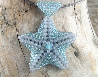 Handmade glass seed bead starfish pendant - Seafoam and grey