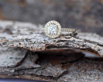 1 carat Halo diamond engagement wedding sets-Diamond wedding set-Yellow Gold-Promise ring-Diamond engagement ring-Wedding band-Art deco ring