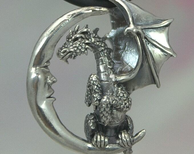 Dragon Pendant in Sterling Silver Lunar Dragon Fantasy Pendant