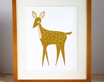 Deer Nursery Art, Woodland Fawn Print, Woodland Deer Print, Fawn Art, Deer Wall Print, Fawn Nursery Art, Deer Kids Art, Woodland Kids Art