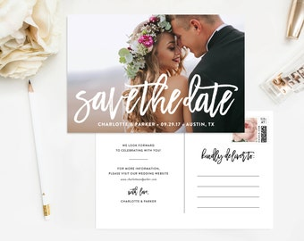 Brushed Save the Date Photo Postcard - Wedding, Post Card, Hand Lettered, Script, Modern, Flat Card, Engagement, Announcement