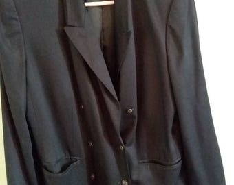Black Double Breasted Blazer by Valerie Stevens II Size 16W Fully Lined 100% Rayon