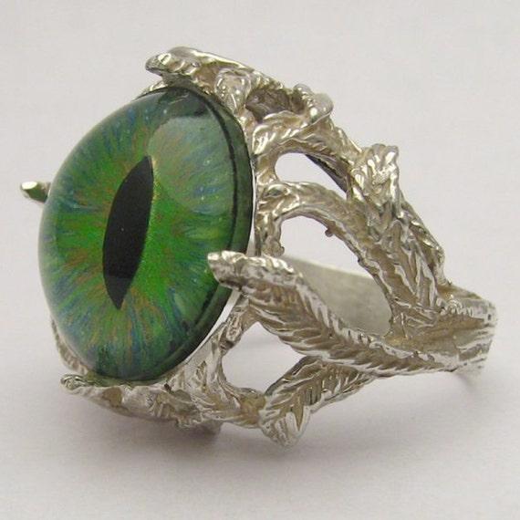 Handmade Sterling Silver Green Gothic Dragon Eye Claw Ring