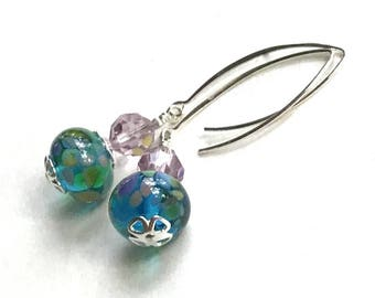 Teal Blue Purple Lampwork Sterling Silver Dangle, Drop Earrings   for her under 80, Limited Edition, Free Gift Wrap