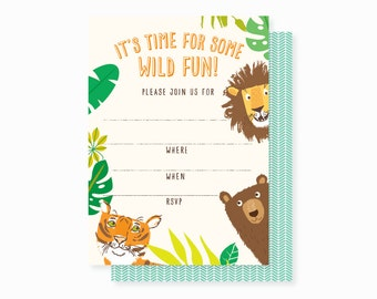 Lions, Tigers, Bears, birthday PARTY INVITATIONS, boy birthday party