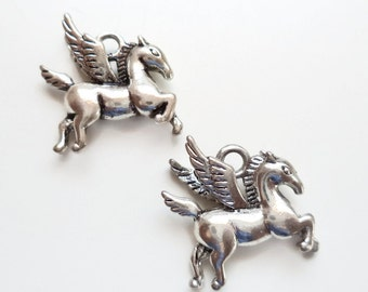 Silver plated Flying Pegasus Horse Charms - 3D Pegasus Charm