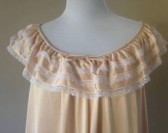 L / Komar / Nightgown / Light Peach /Beige / Dress / House Dress / Large