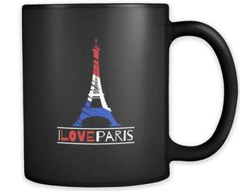 I Love Paris, France, French and Eiffel Tower Black Mug 11oz