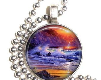 Sunset Beach Wave Ocean Art Pendant, Earrings and/or Keychain, Tropical Paradise Round Photo Silver and Resin Charm Jewelry