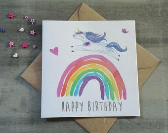 Unicorn Birthday card, Girls Happy Birthday, Kids Birthday,Personalised Happy Birthday Girl Card