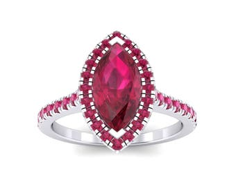 Marquise Halo Ruby Engagement Ring, Halo Ring, Ruby, Ruby Ring, Ruby Jewelry, Engagement Ring, Ring, Gift