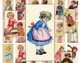 Children Domino Digital Collage Sheet for Scrapbooking Altered Art Victorian Style / DO2